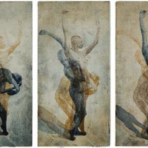 Bildtitel: Erwachen (Bewegungsabfolge einer nackten Frau, die sich langsam aus einer gekrümmten Haltung aufrichtet und sich streckt) Farbquatinta in Blau, Ocker und Braun