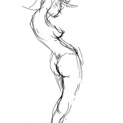 Aktstudie einer Frau mit hochgehobenen Armen. Lithografie