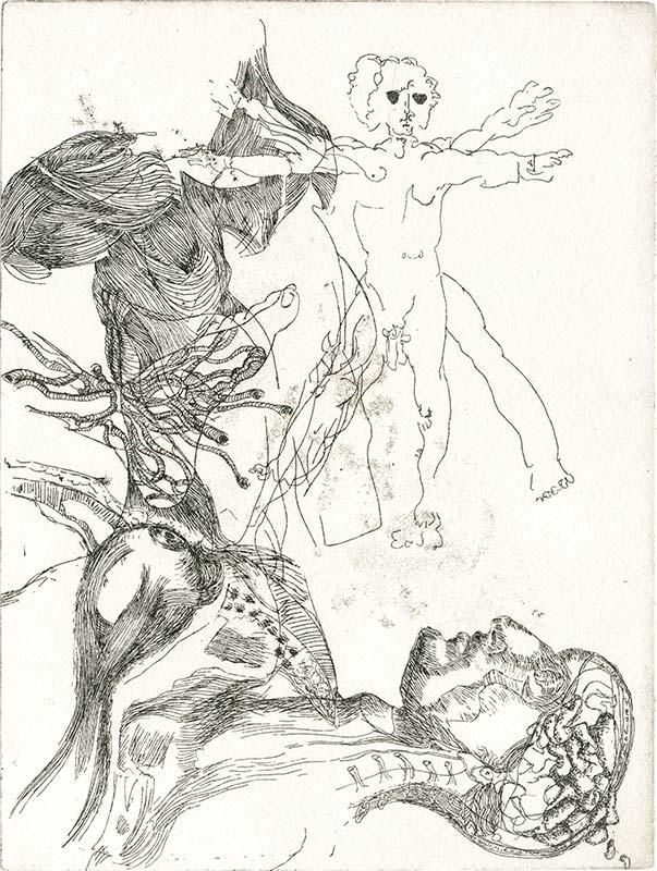 Blindzeichnung Vitruvianischer Mensch nach Leonado da Vinci, mit diversen anatomischen Studien