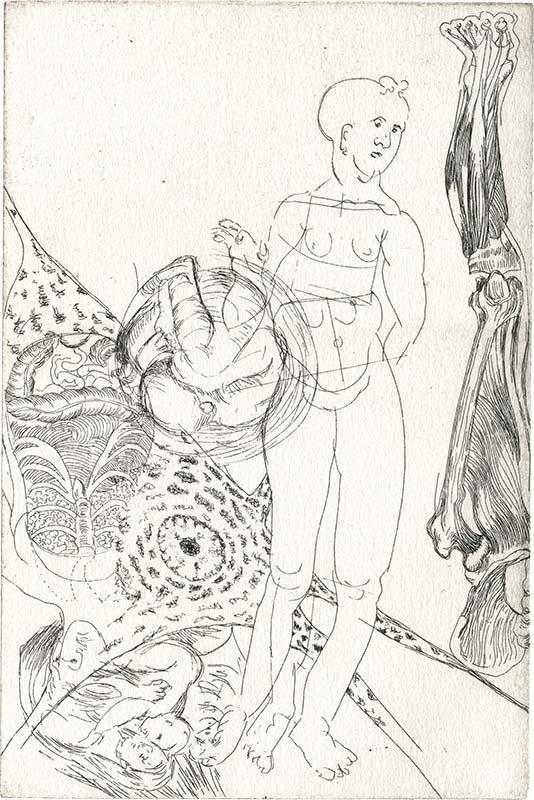 Anatomiestudie nach Dürer, weiblicher Akt, Radierung