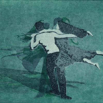 Tanzpaar in einer Drehung Farbaquatinta (3teilige Bewegungssequenz)