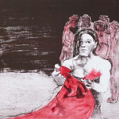 Das rote Kleid, Zinkografie, Lithografie