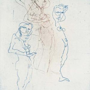 Vier Frauen, Blindzeichnung, Radierung