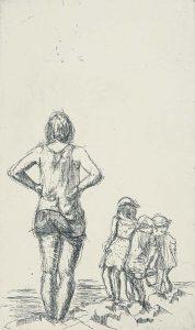 Frau mit Kindern am Meer, Radierung