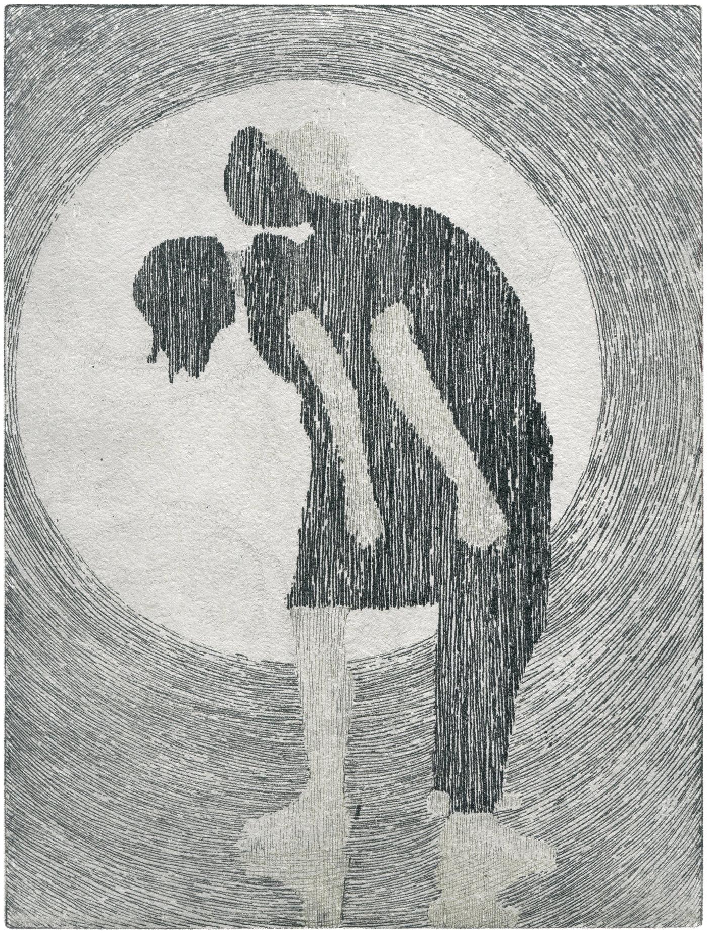 Ein Paar, Rücken an Rücken, Gezeichnet mit senkrechten paralellen Linien vor einem kreisförmigen Hintergrund