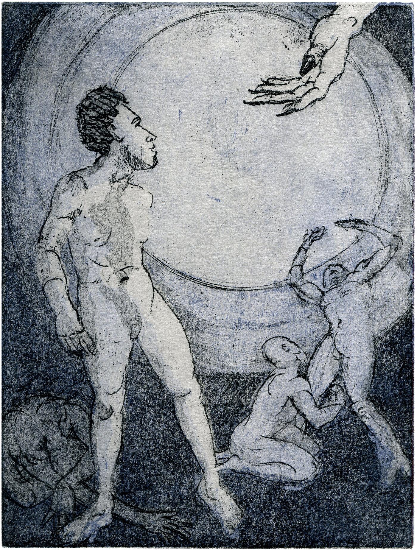 Die Hand, Vernies Mou, Aquatinta von 2 Platten
