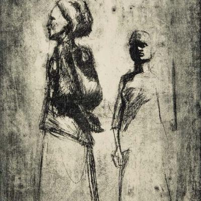 Zinkografie; Zwei Frauen mit Turban und langen Röcken; Würdevolle Darstellung
