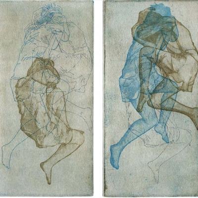 Überlagerte Schlafpositionen einer Frau · Radierung, Aquatinta, Vernie Mou